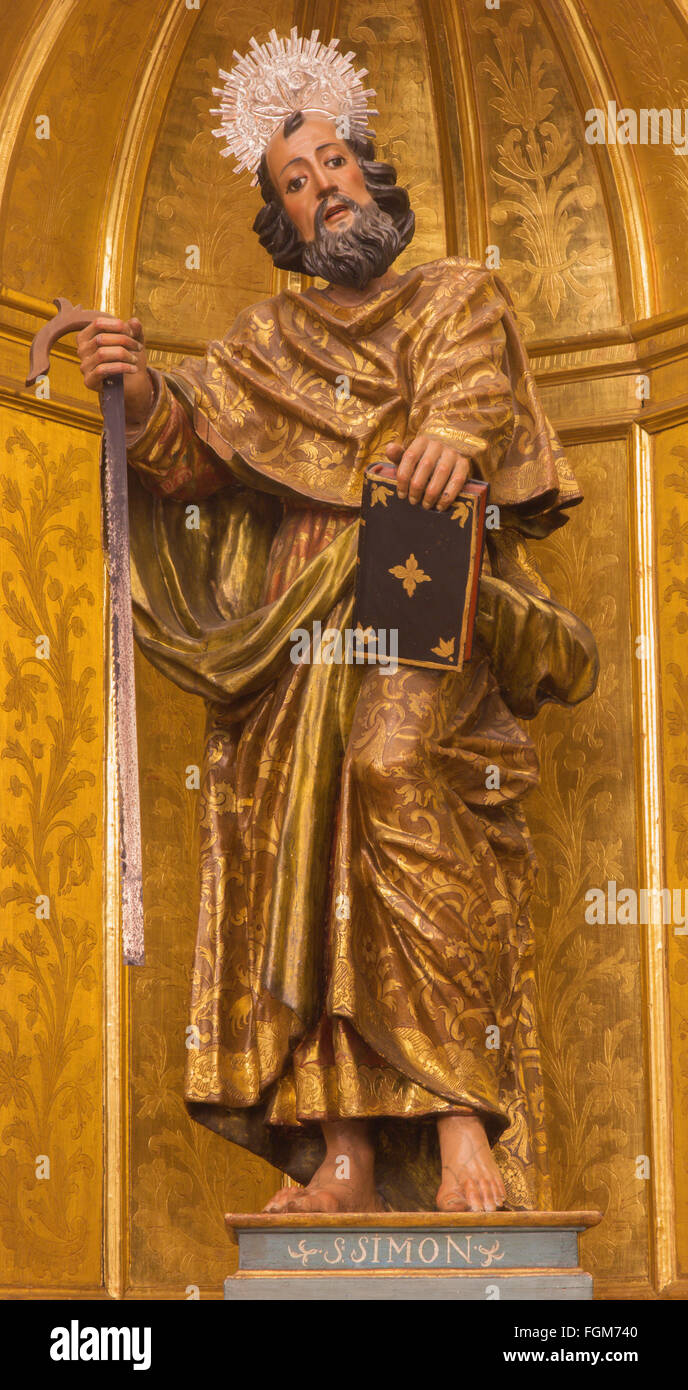 CORDOBA, SPAIN - MAY 27, 2015: Saint Simon the apostle carved  and gilded statue by unknown artist (c 1780) . - Stock Image
