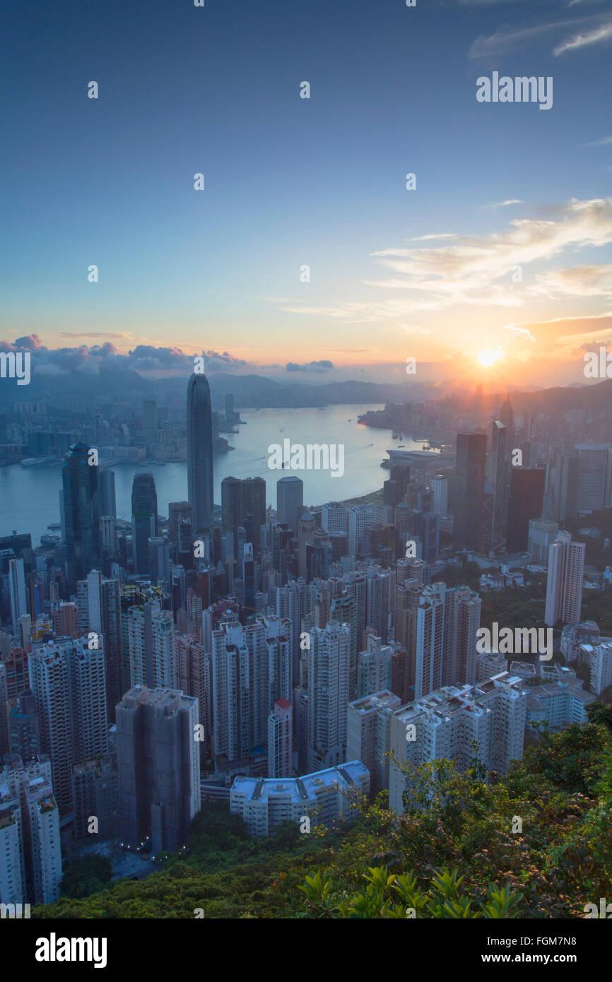 View of Hong Kong Island skyline at dawn, Hong Kong, China - Stock Image
