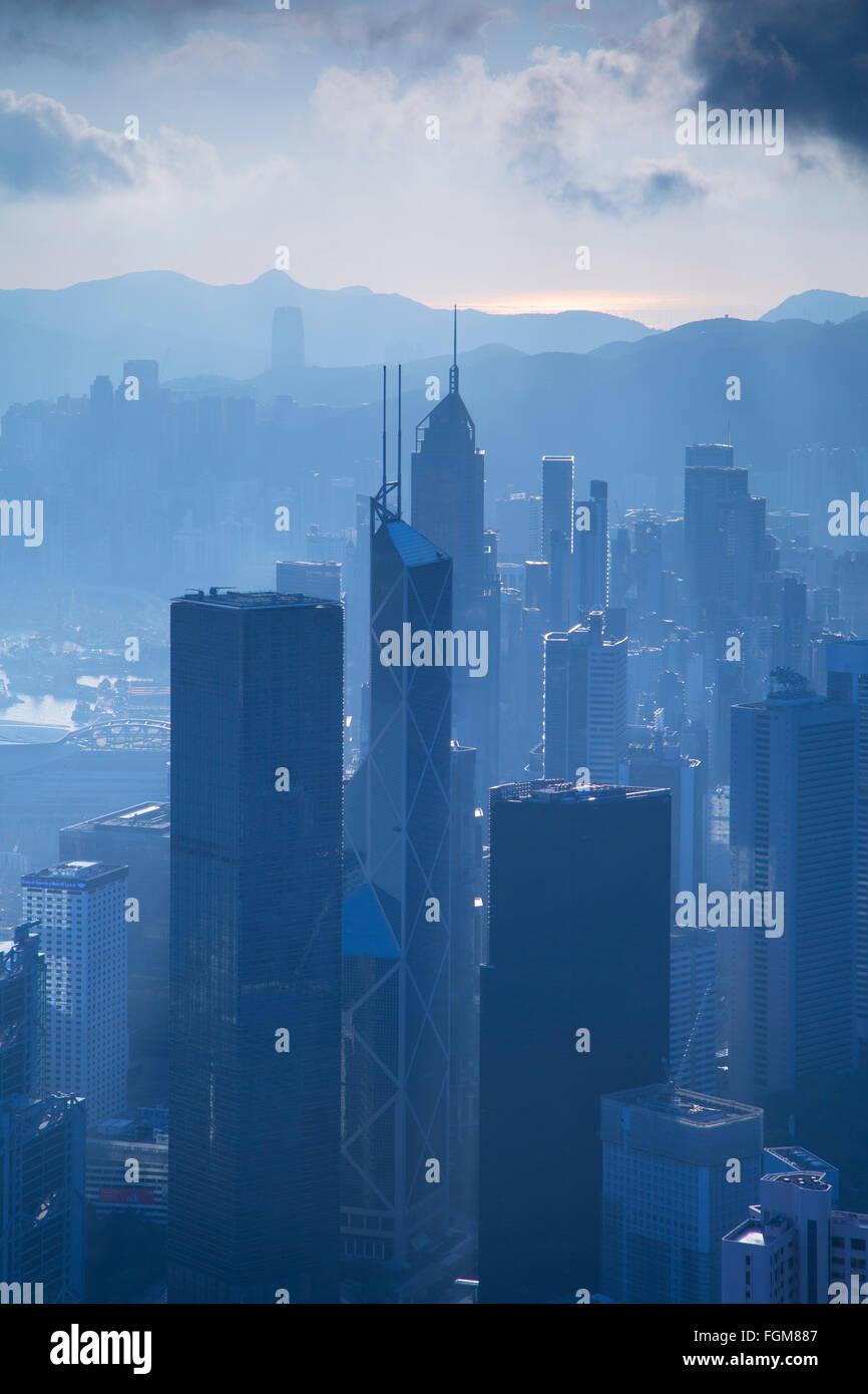 View of Hong Kong Island skyline, Hong Kong, China - Stock Image