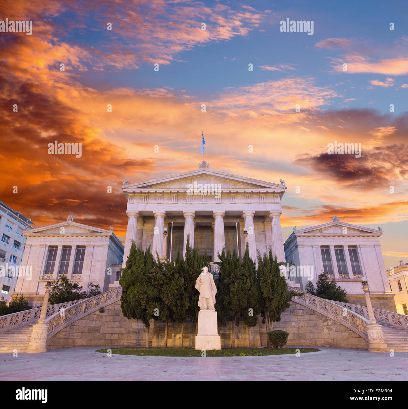 Athens - The building of National and Kapodistrian University of Athens at dusk Stock Photo