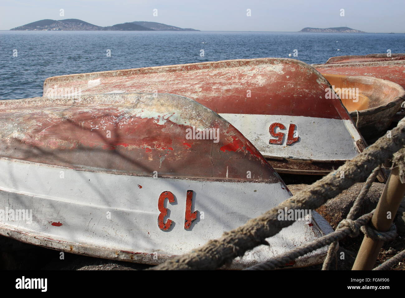 Winterizing Fishing boats Stock Photo