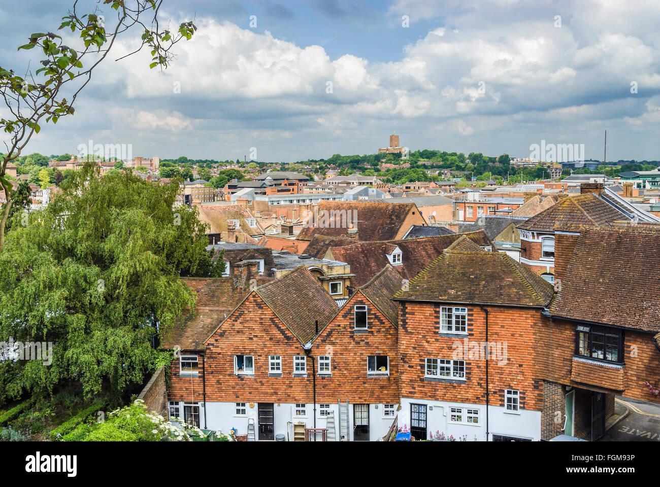 Elevated view over Guildford in Surrey, England. | Aussicht ueber die Innenstadt von Guildford in Surrey, England. - Stock Image