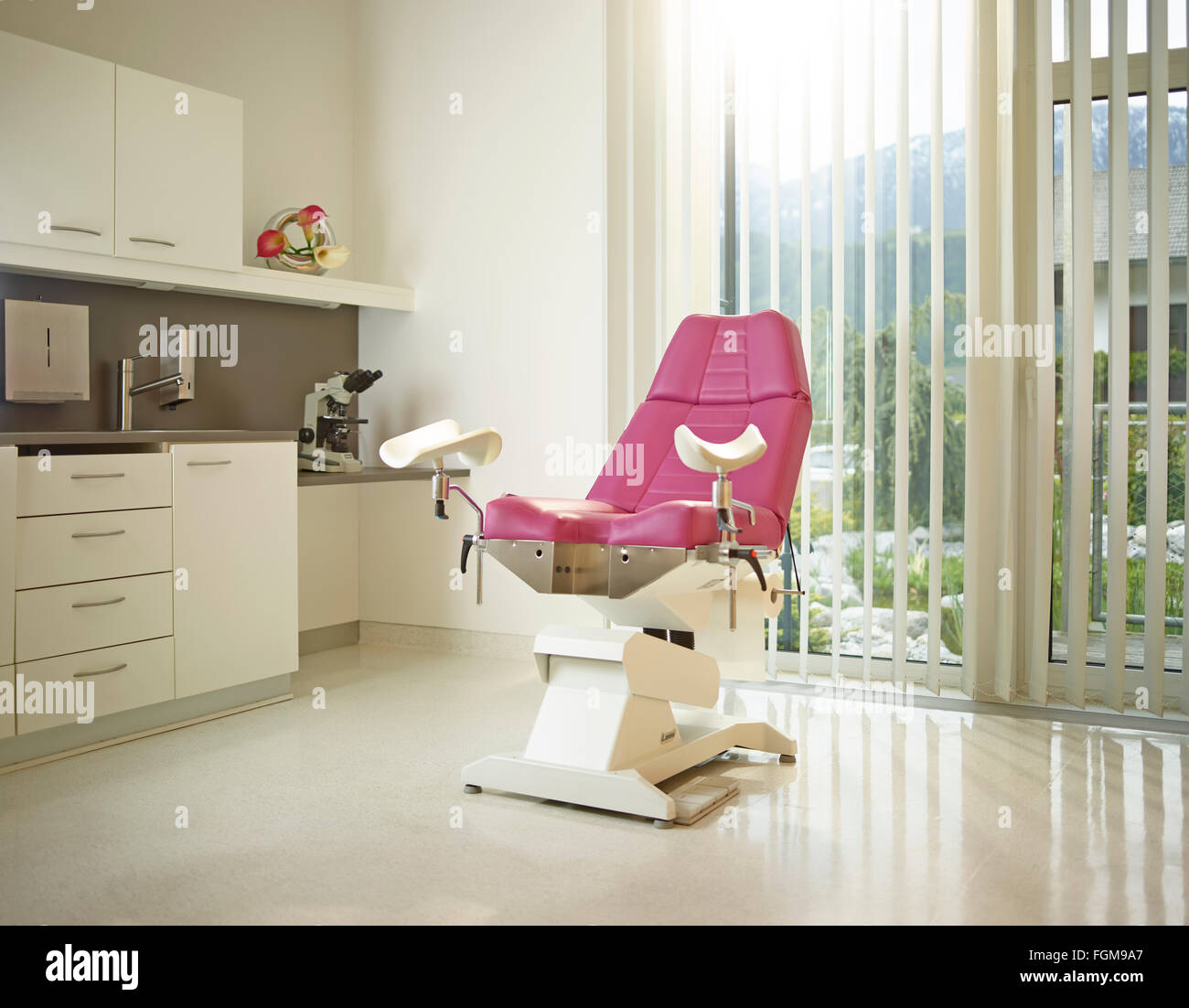 Gynaecological chair, practice, Austria - Stock Image