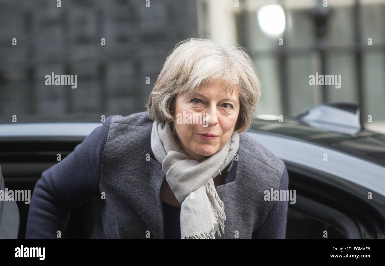 Theresa May,Home secretary,arrives at 10 Downing street for a cabinet meeting - Stock Image