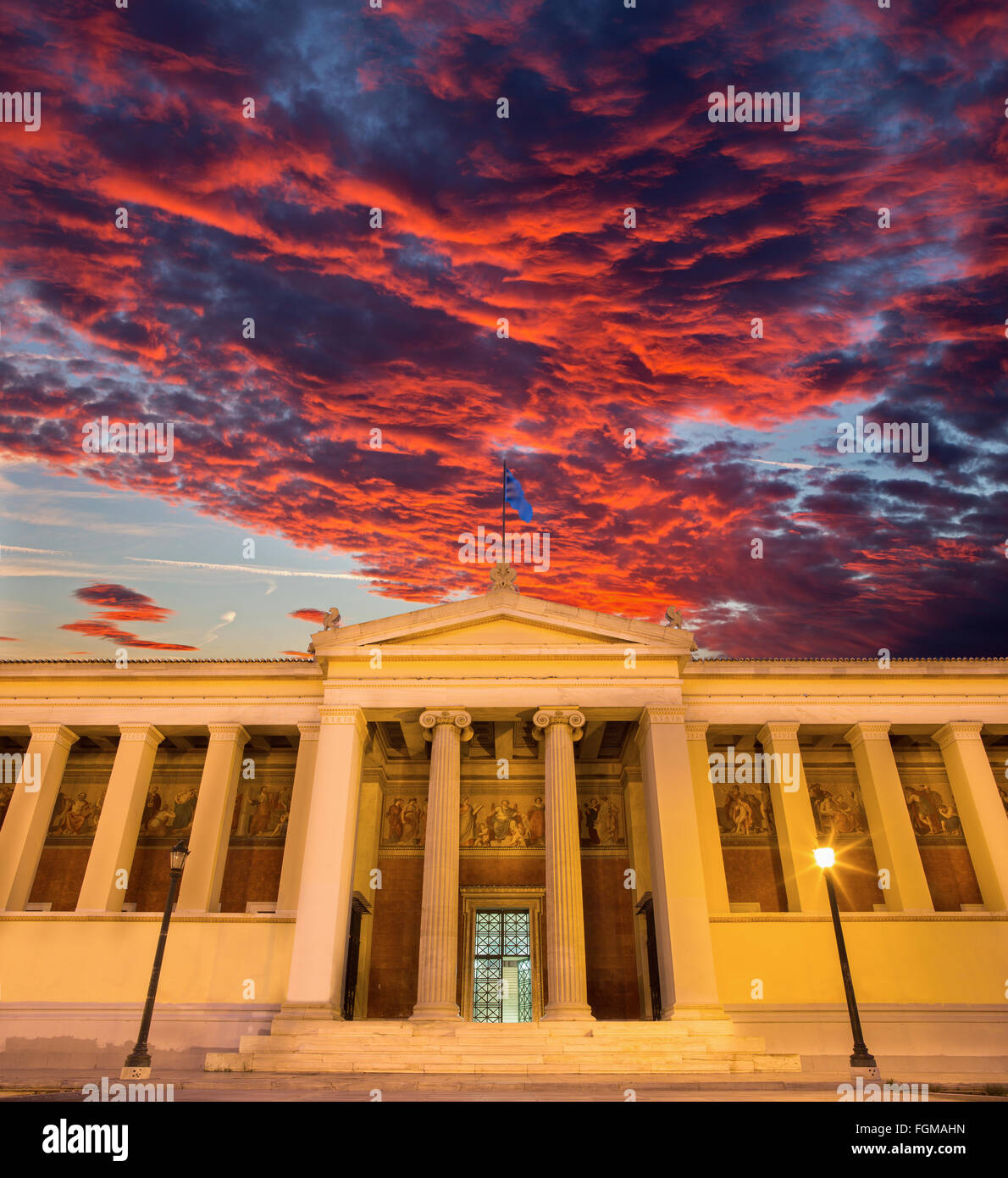 Athens - The building of National and Kapodistrian University of Athens at dusk - Stock Image