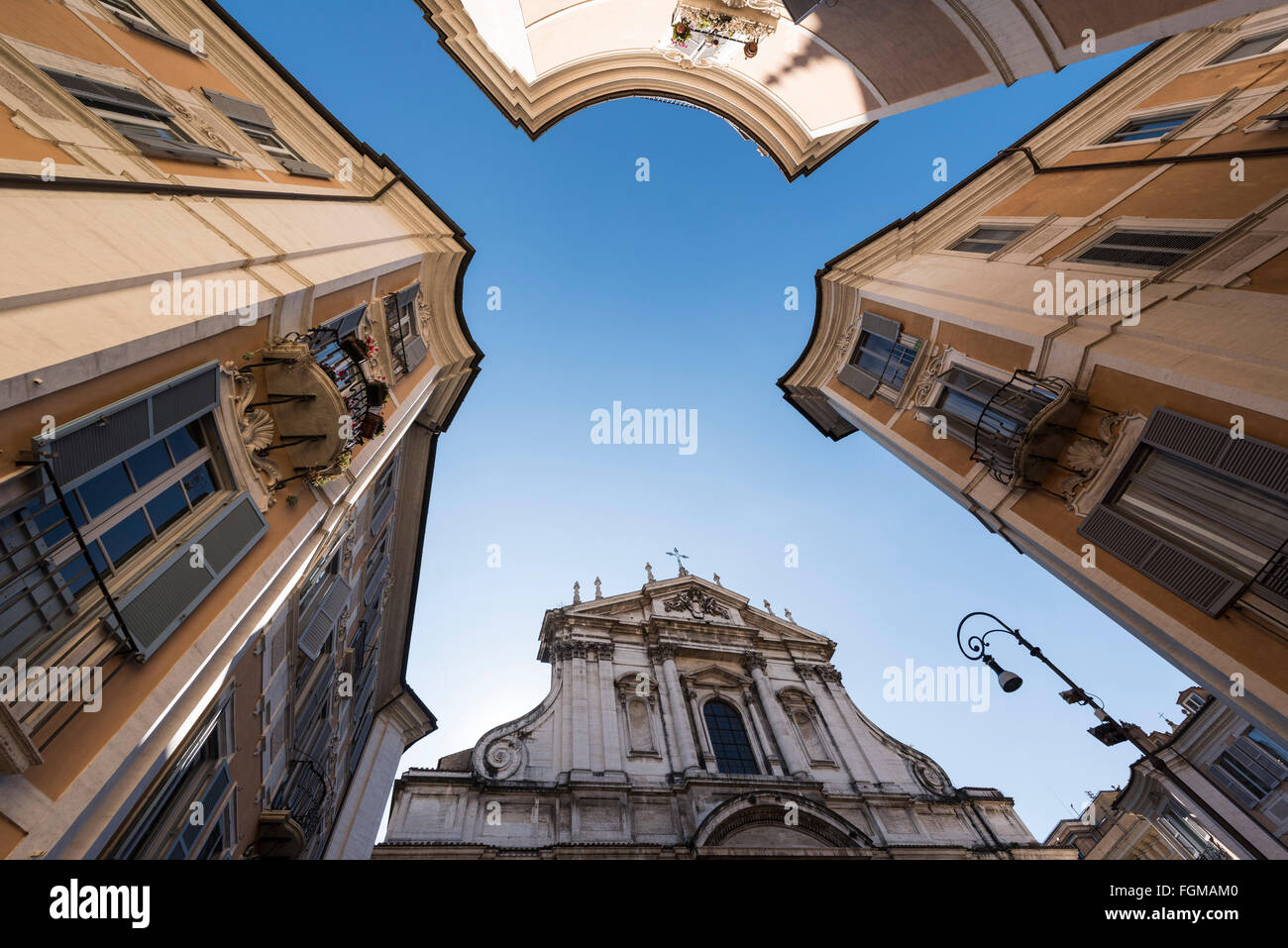 Rome. Italy. Church of St. Ignatius of Loyola at Campus Martius (Chiesa di Sant'Ignazio di Loyola), Piazza Sant'Ignazio. - Stock Image