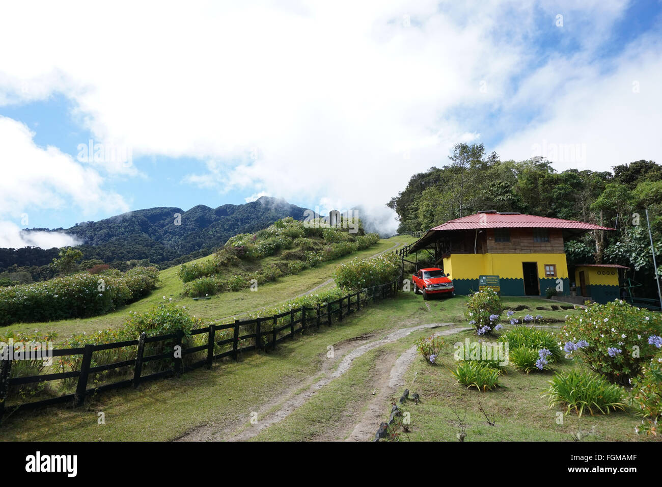 Anam ranger station and landscape view of highlands at Cerro Punta Volcan Baru Chiriqui Panama.Near Boquete - Stock Image