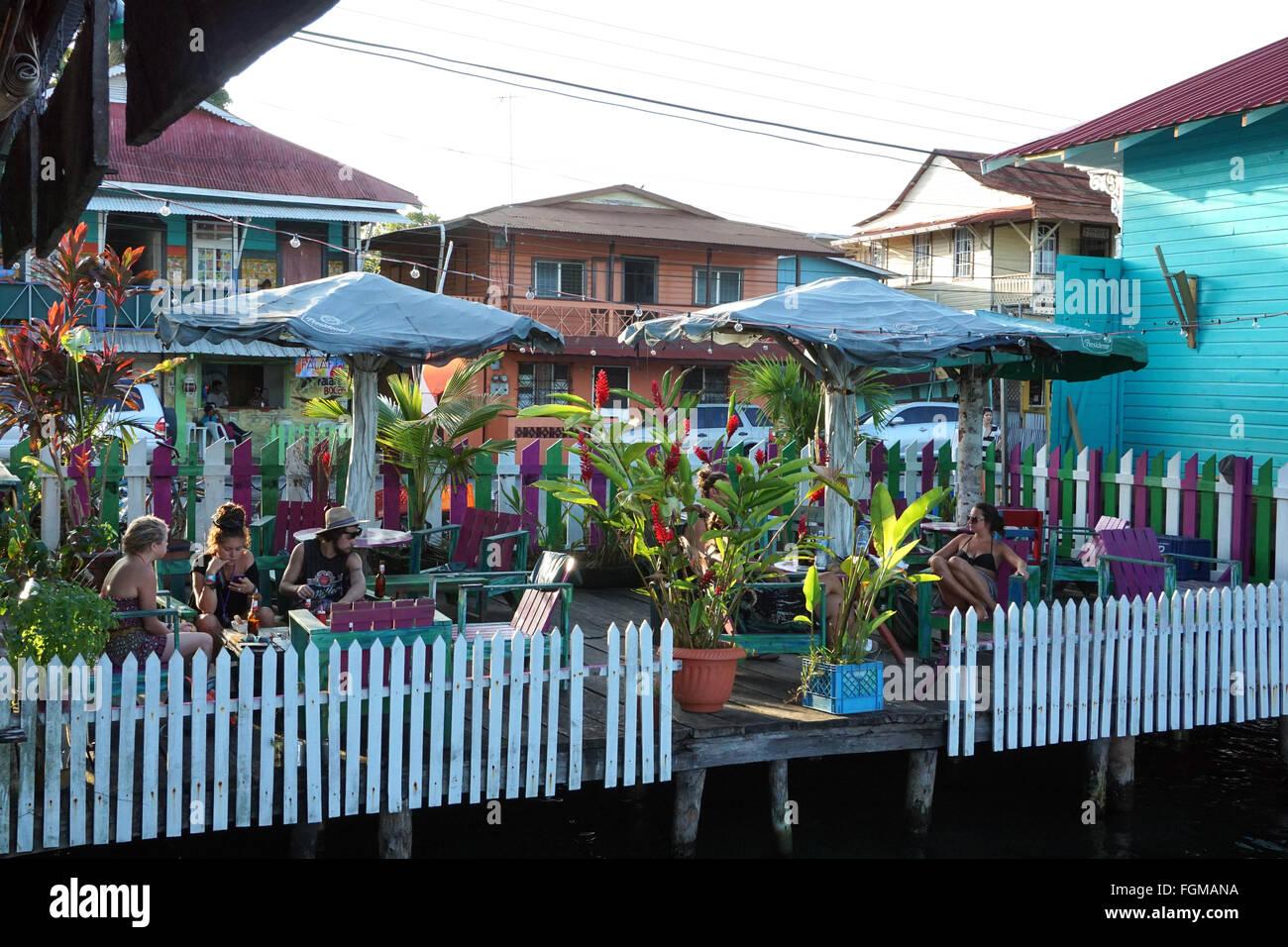 Lounge bar at Bocas town Isla Colon Bocas del Toro Panama - Stock Image