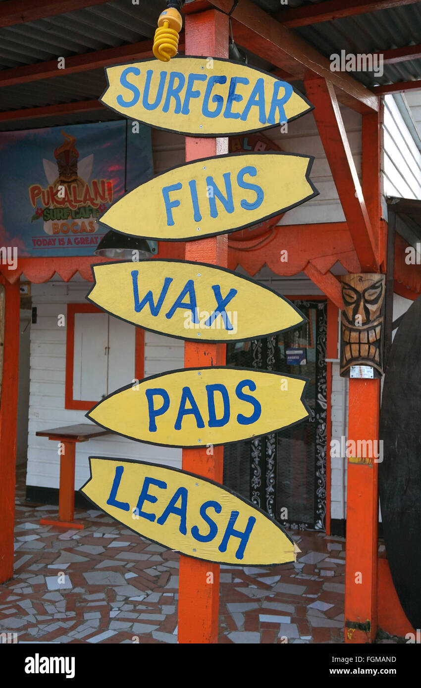 Surfgear fins wax pads leash signs - Stock Image