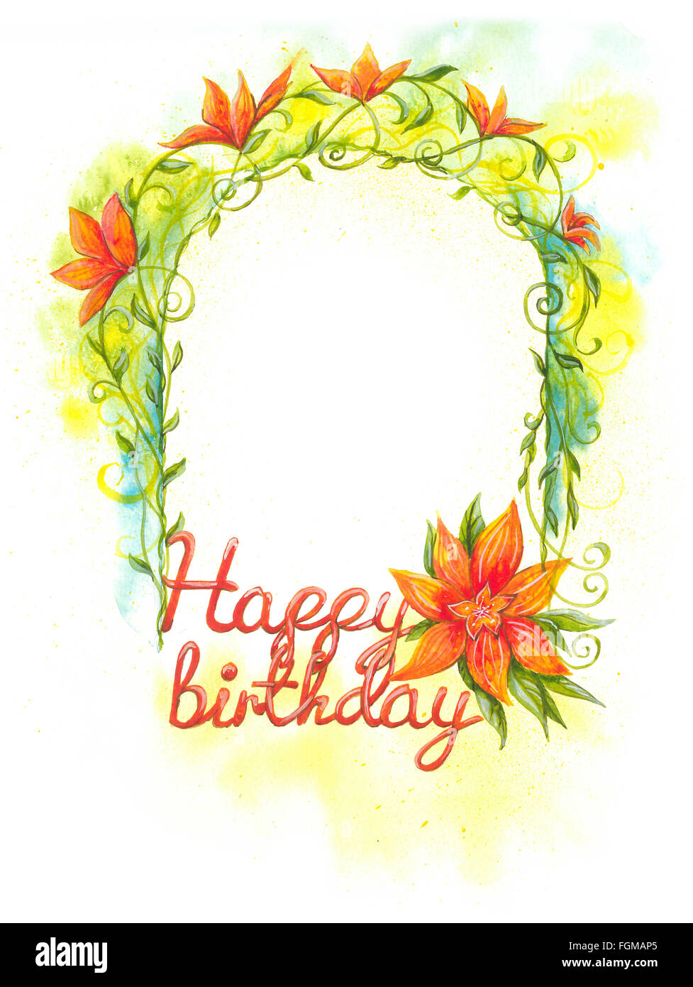 floral frame, happy birthday, watercolor painting art Stock Photo ...