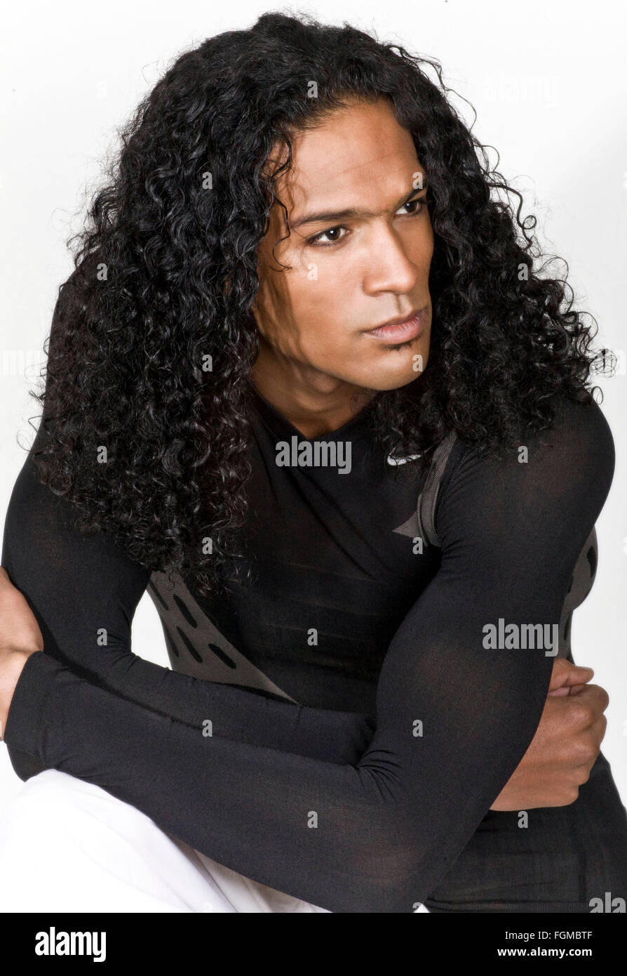 Excellent Handsome Young Black Man With Long Curly Hair Stock Photo Schematic Wiring Diagrams Phreekkolirunnerswayorg