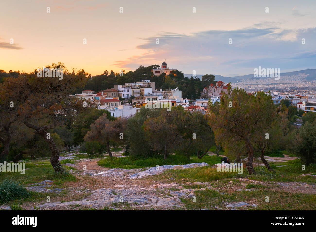 National observatory in Thissio as seen from the slope of Areopagus Hill in central Athens. - Stock Image