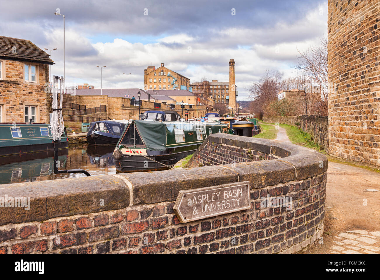 Huddersfield Broad Canal, Huddersfield, West Yorkshire, England, UK - Stock Image
