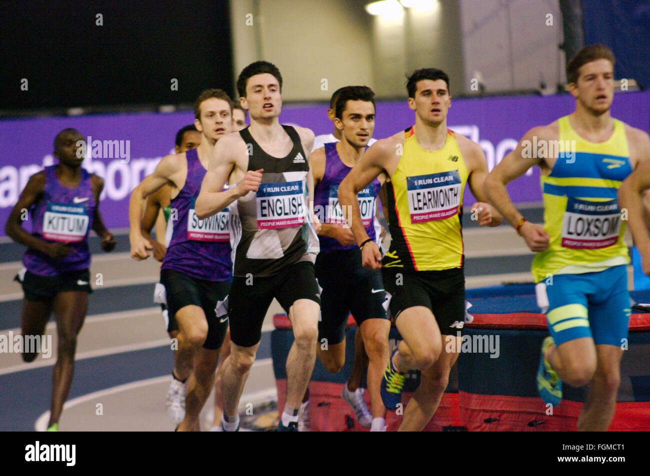 Glasgow, UK, 20 February 2016, Mark English of Ireland running on the shoulder of Guy Learmonth of Great Britain - Stock Image