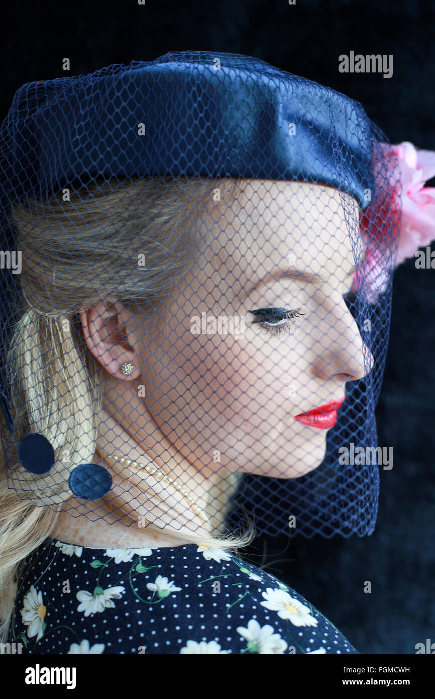 Woman Hat Veil Vintage Stock Photos   Woman Hat Veil Vintage Stock ... d54c3cdf0aa