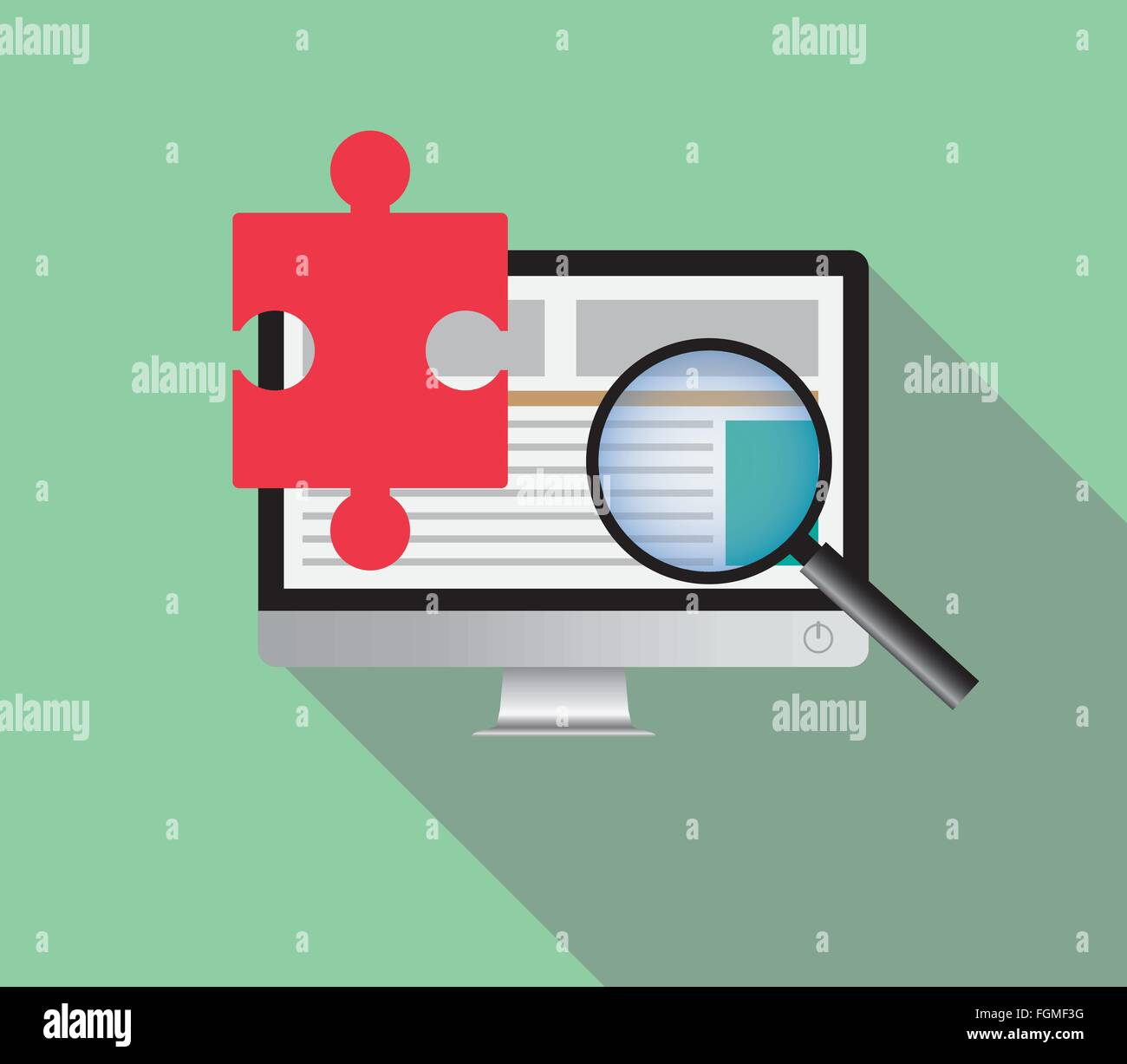 search solution via online browsing browse internet in a computer Stock Vector