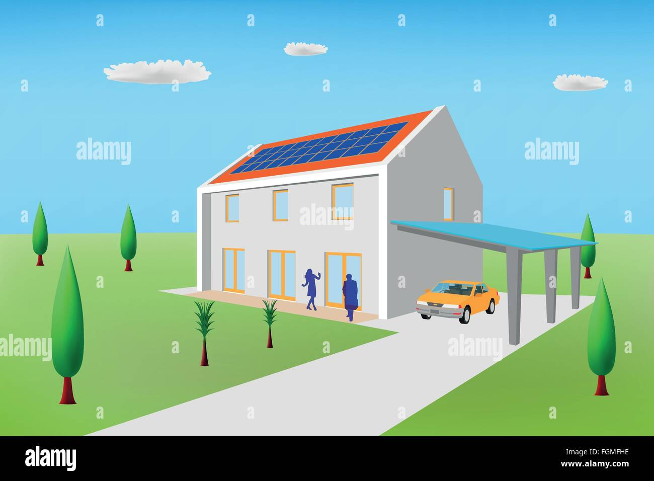 Passive house with photovoltaic panels - Stock Vector
