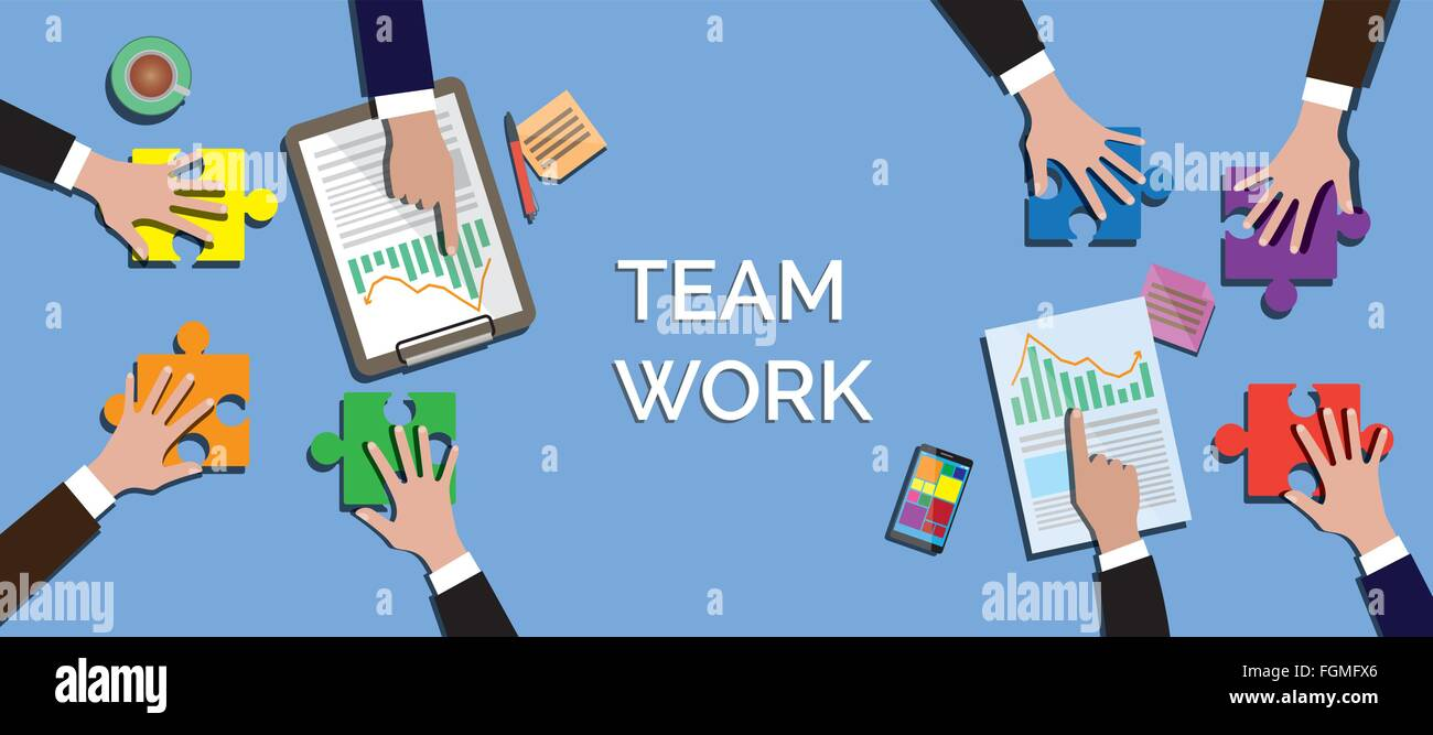 team work concept together use puzzle or jigsaw vector - Stock Image