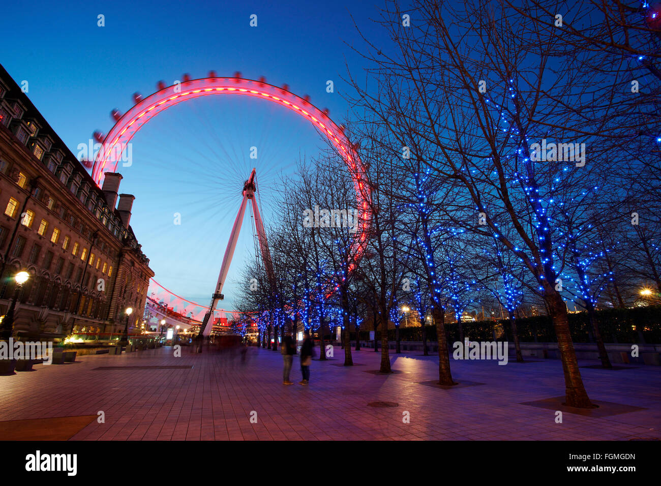 London - February 16, 2016: Night view of London Eye. A famous tourist attraction, 135 meters, biggest Ferris wheel - Stock Image