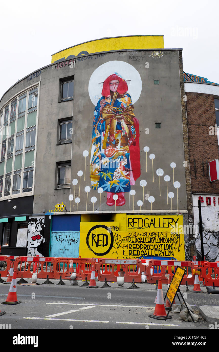 Shoreditch London Uk: Roadworks And Japanese Woman Street Art Mural In