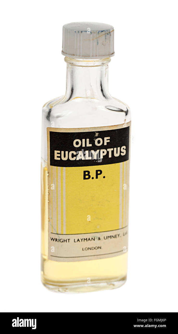 Old style bottle from about the 1960s of Oil of Eucalyptus B.P. - Stock Image