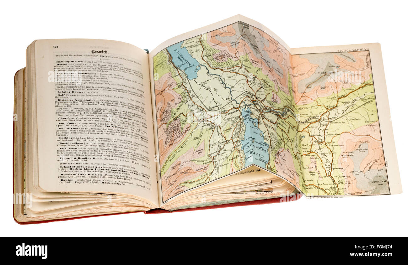 Guidebook to the English Lakes published in 1895 with fold-out map - Stock Image
