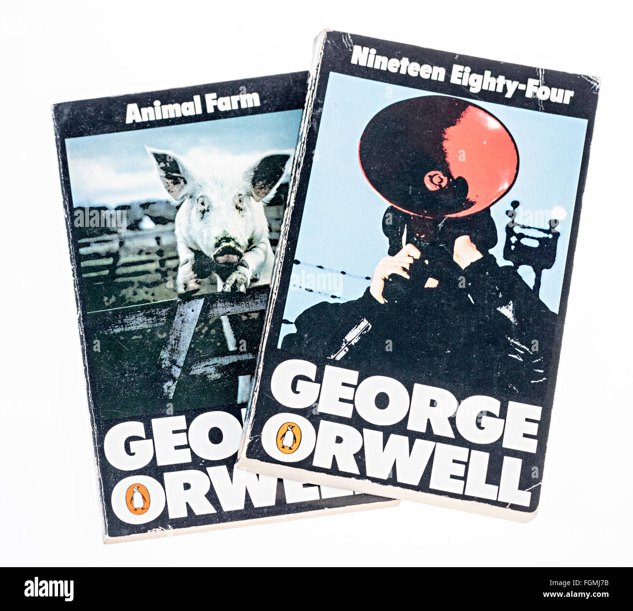 Paperback books Animal Farm and Nineteen Eighty Four by George Orwell - Stock Image