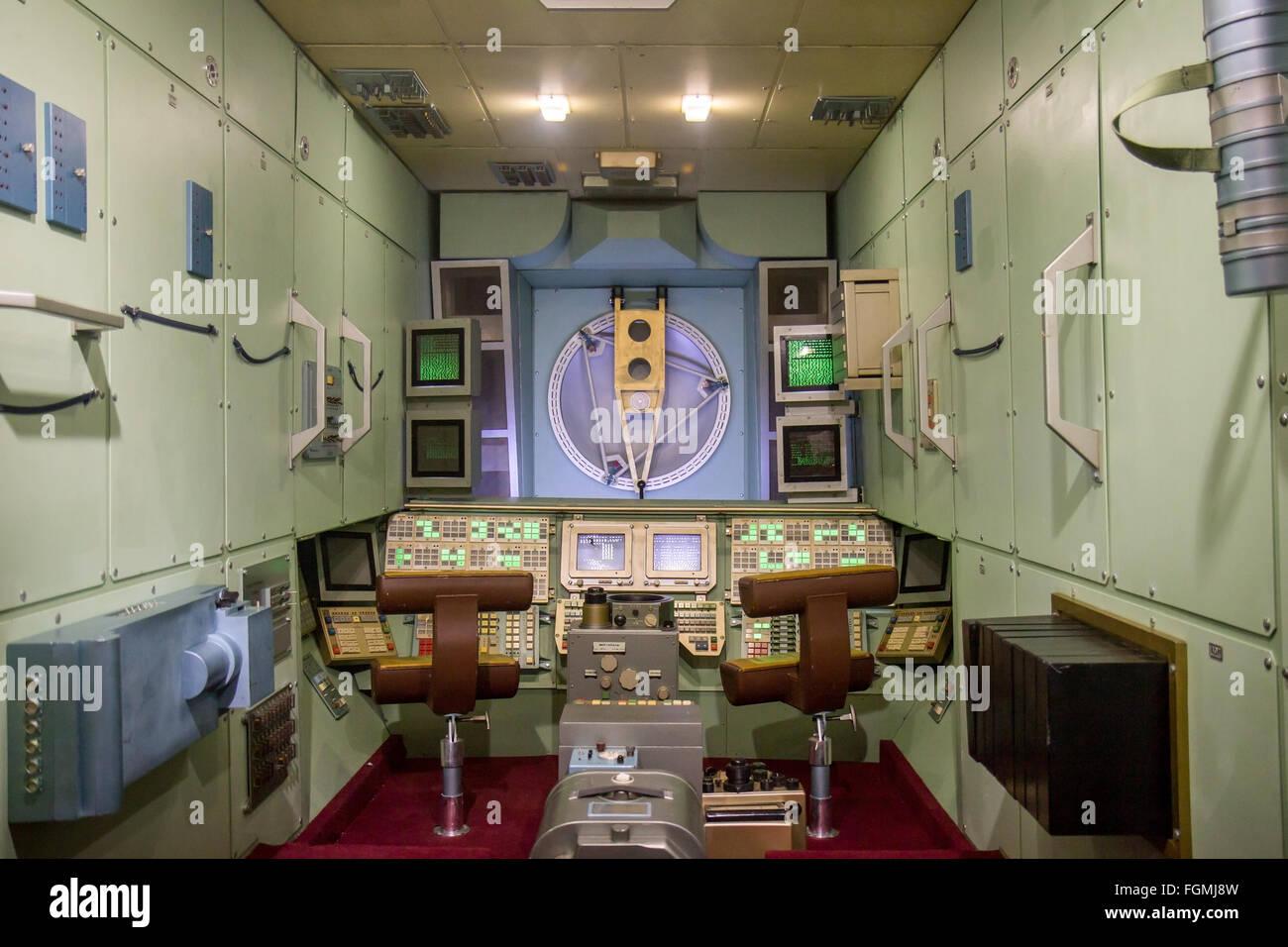 inside the MIR orbital station - Stock Image