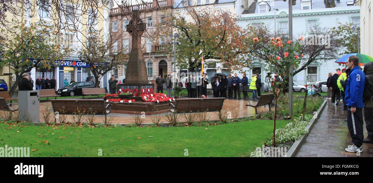 War Memorial, Ramsey, Isle of Man, Armistice Day during the ceremony - Stock Image