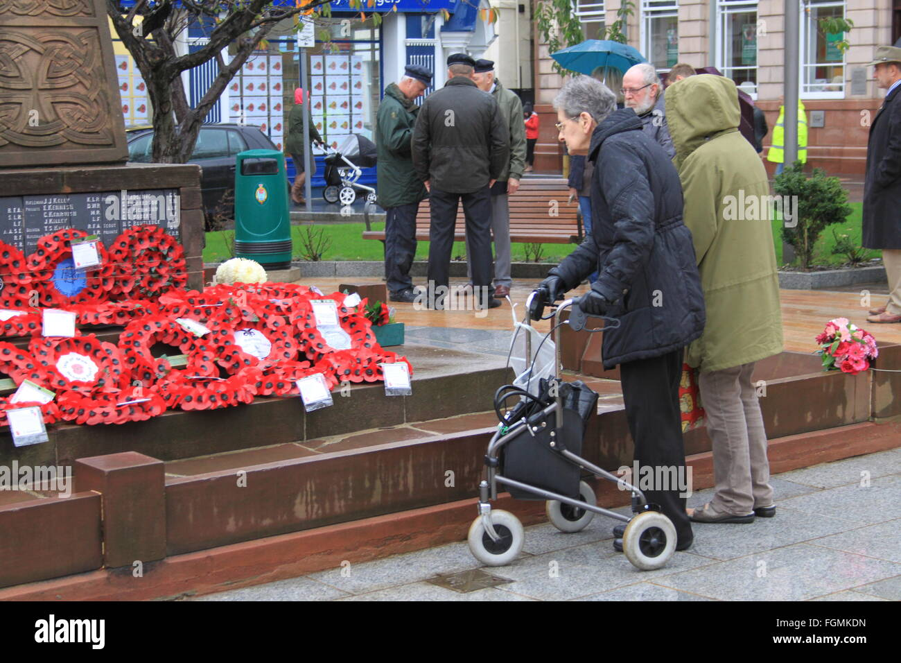 War Memorial, Ramsey, Isle of Man, Armistice Day after the ceremony - Stock Image