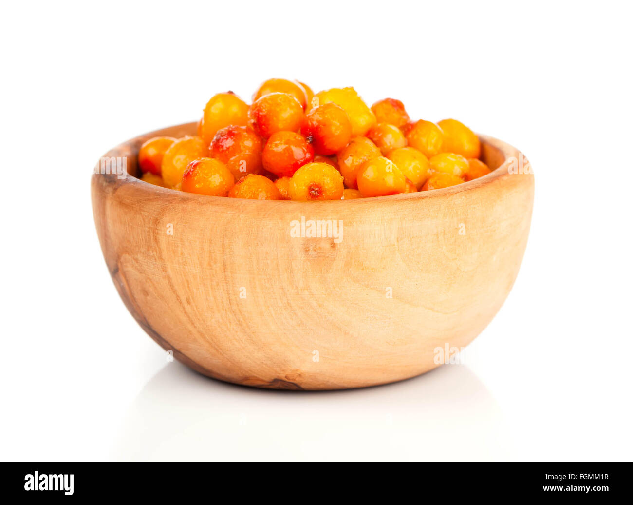 Fresh sea buckthorn berry in a wooden bowl Stock Photo