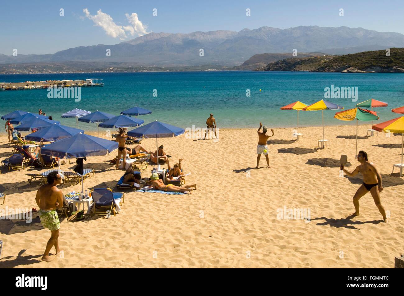 Griechenland, Kreta, bei Chania, Akrotiri-Halbinsel, Marathi, Sandstrand von Marathi - Stock Image