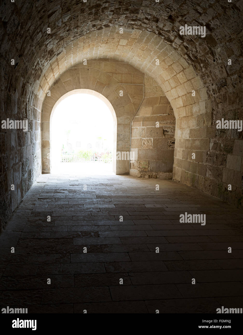 Vaulted Corridor leading to the courtyard of Alexandria Castle - Stock Image