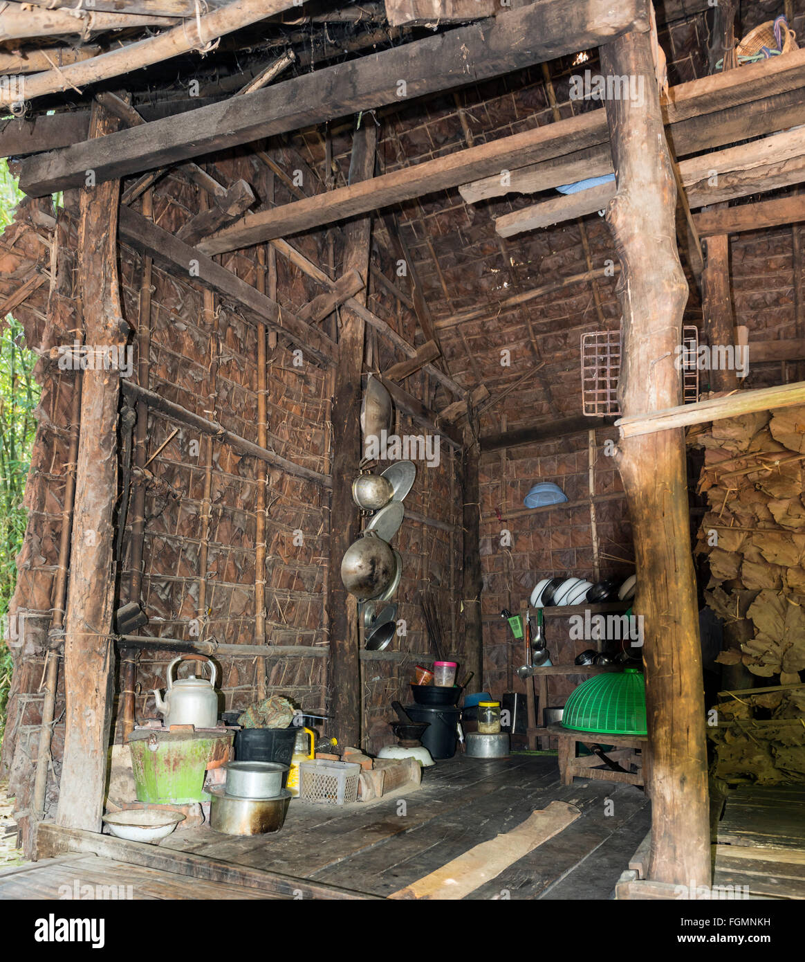 Primitive kitchen, Burma - Stock Image