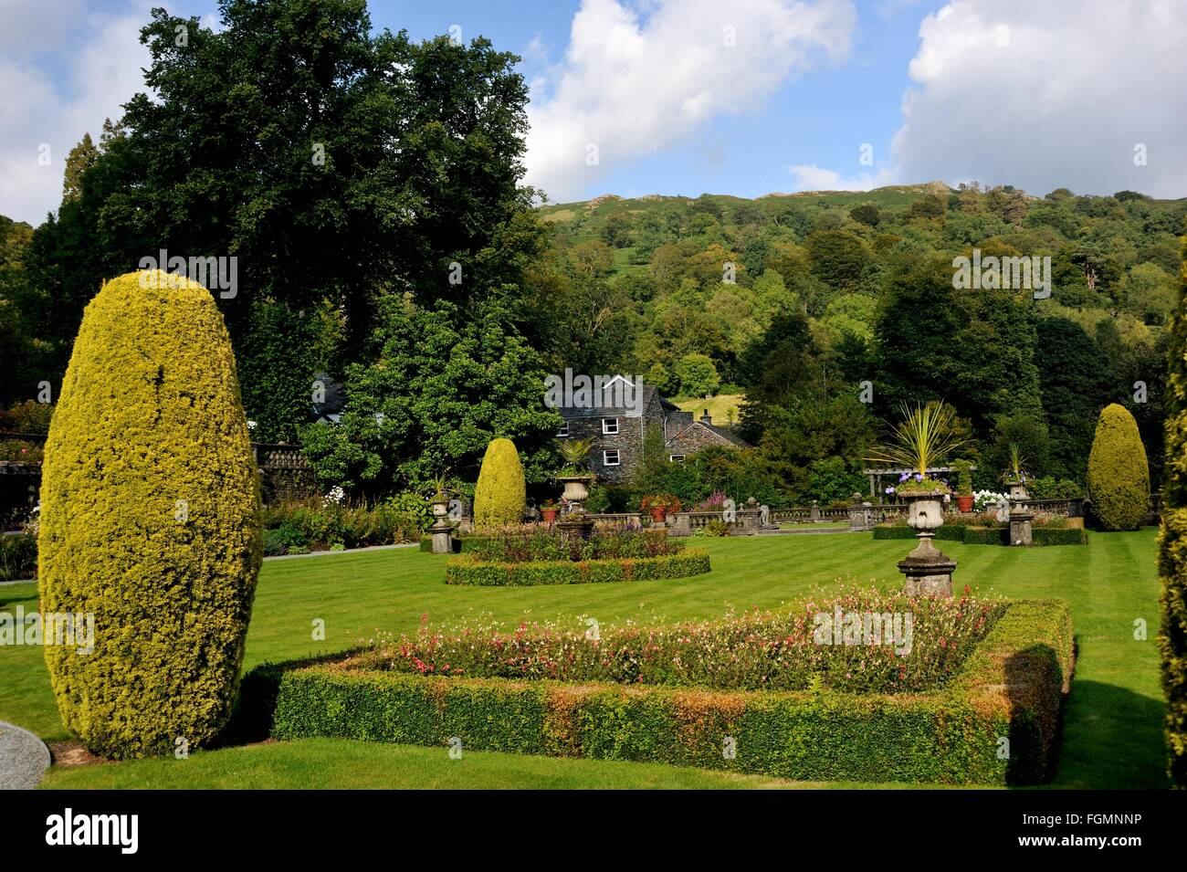 Rydal Hall, Rydal Village, Ambleside, Lake District National Park, Cumbria, England, UK, Formal gardens, Lawns, - Stock Image