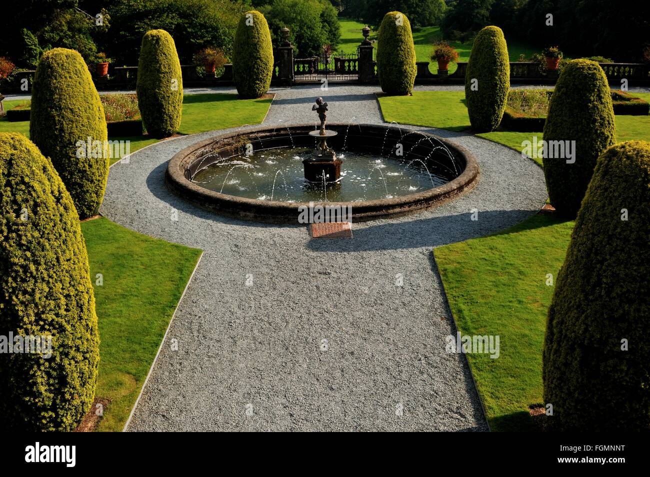 Rydal Hall, Rydal Village, Ambleside, Lake District National Park, Cumbria, England, UK. Formal Gardens, Fountain, - Stock Image