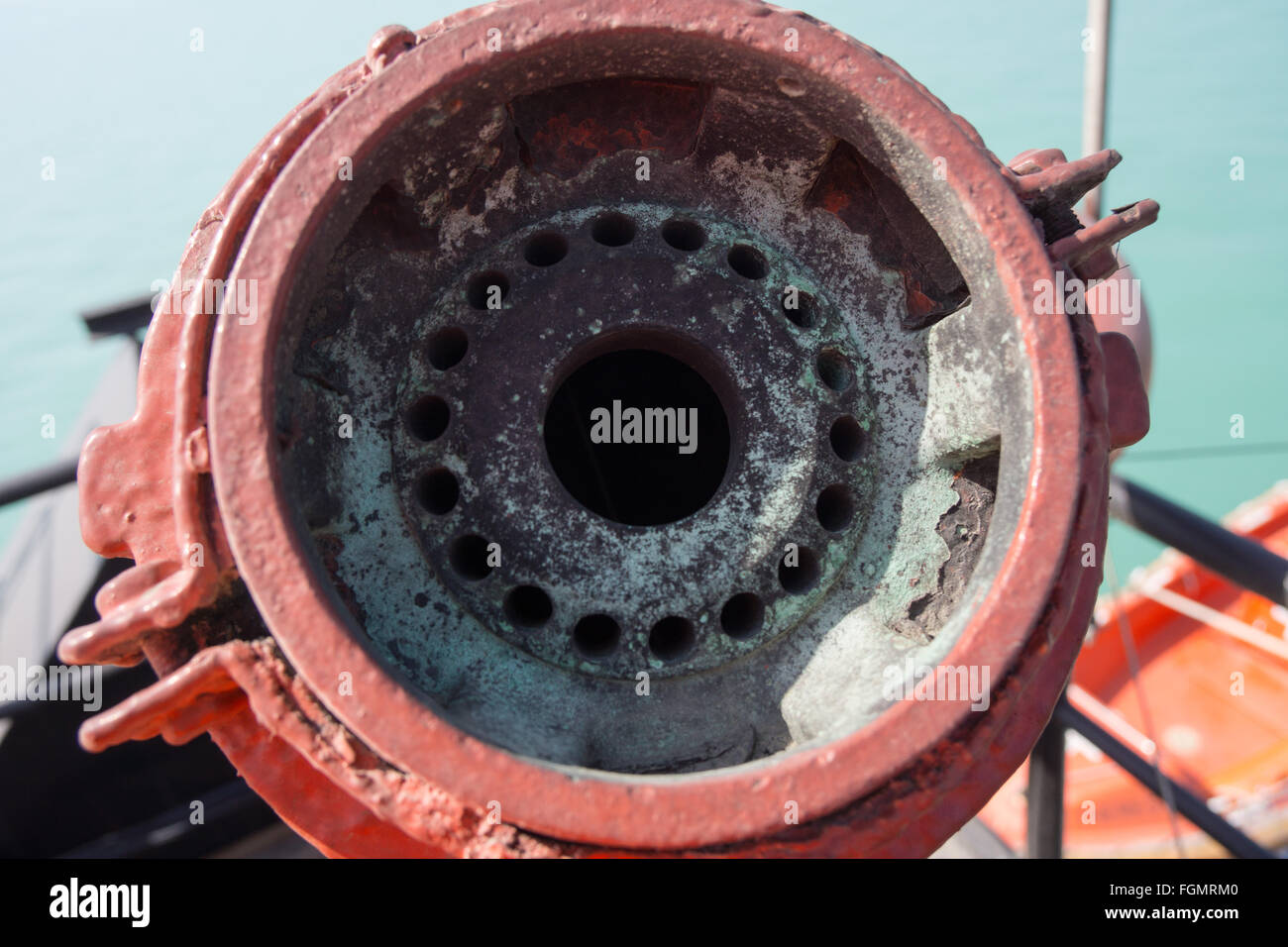 Detail of the inside of a water cannon for fire fighting. - Stock Image