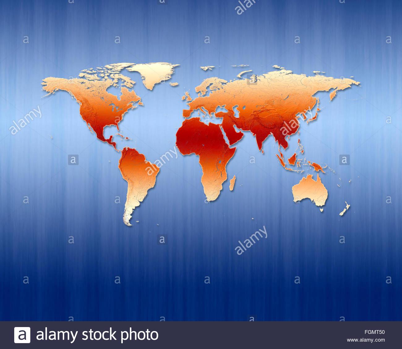 World map global globalization maps cartography worldwide geography continent futuristic international, earth - Stock Image