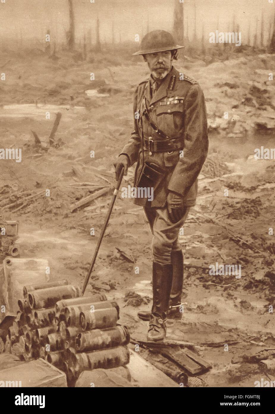 WWI King George V visiting Flanders, July 1917 - Stock Image