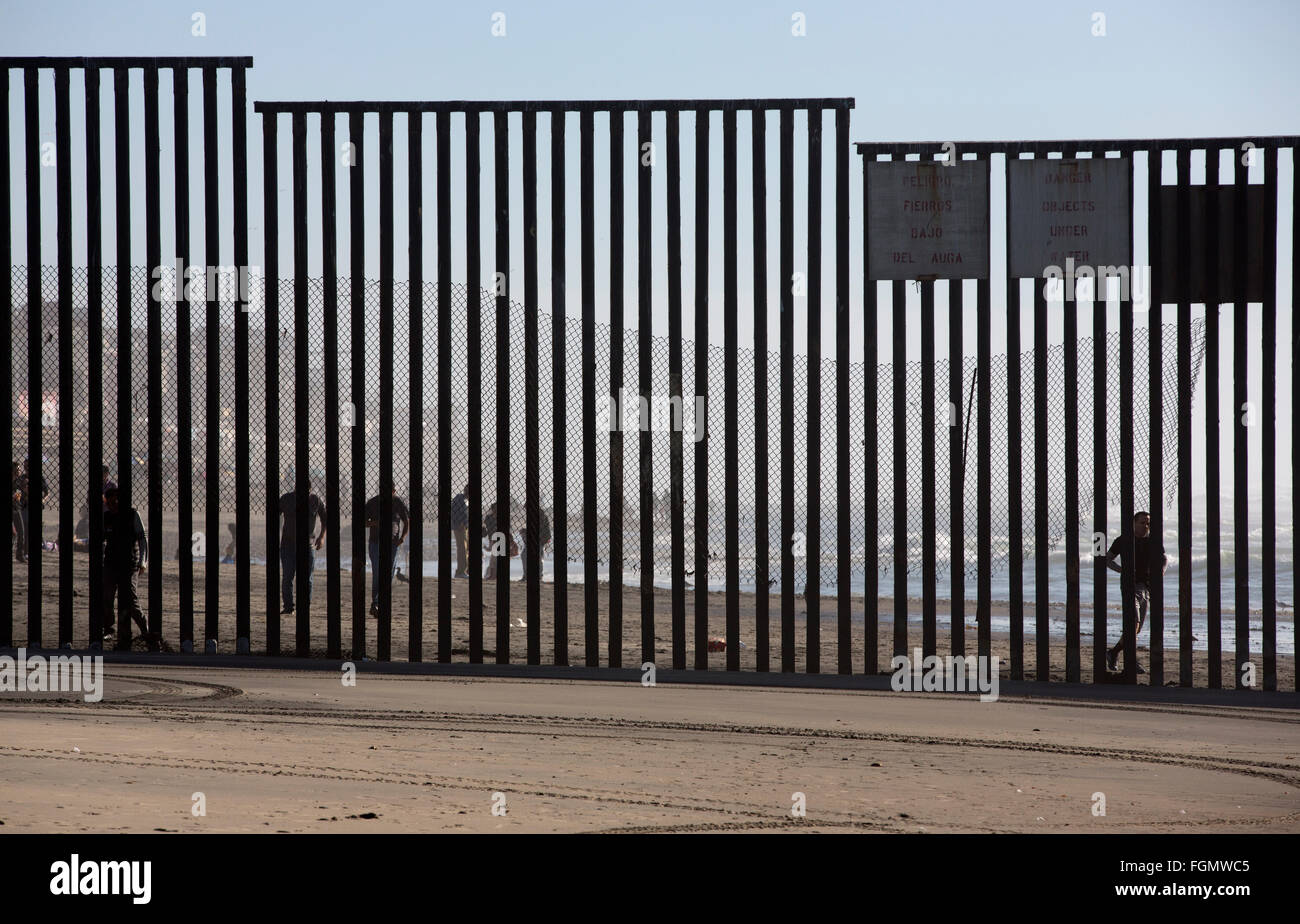 View from the American side of the US / Tijuana, Mexico border fence near San Ysidro, California - Stock Image