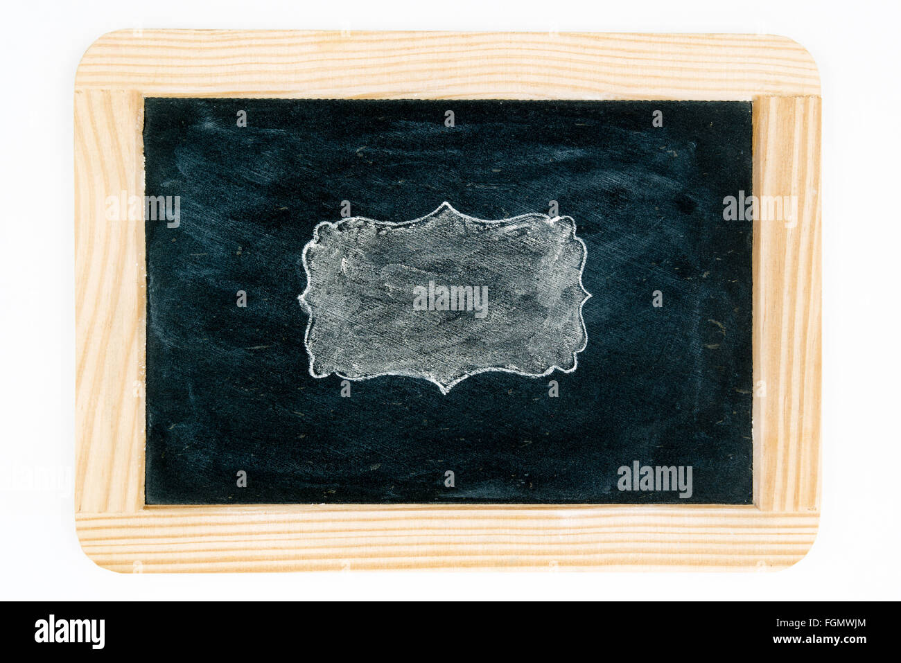 Wooden vintage chalkboard frame isolated on white with hand drawing ...