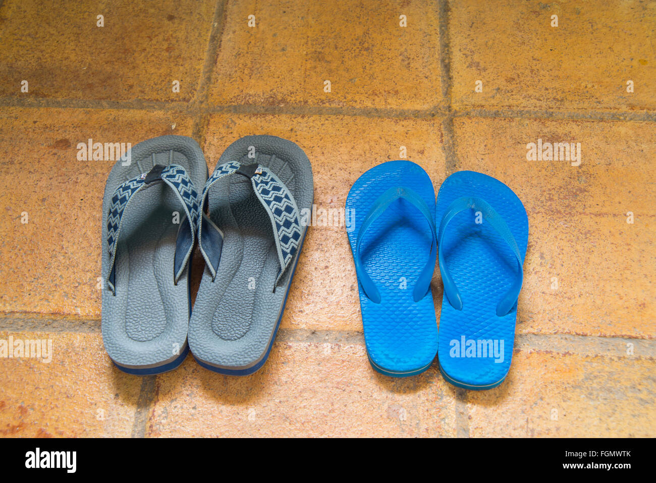 Two pairs of flip-flops. - Stock Image