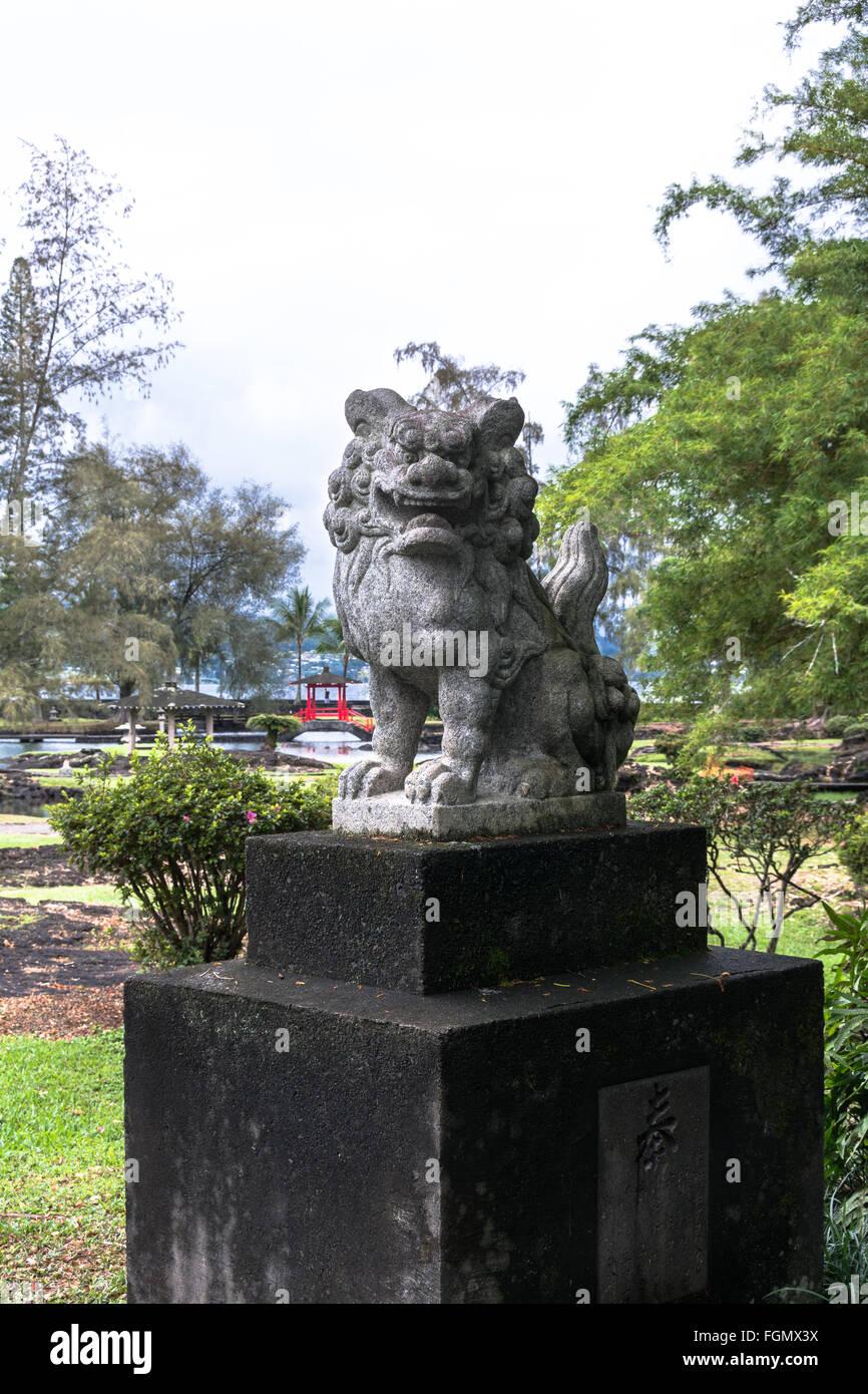 Garden Dragon Statue in Japanese park, Hilo, Hawaii - Stock Image