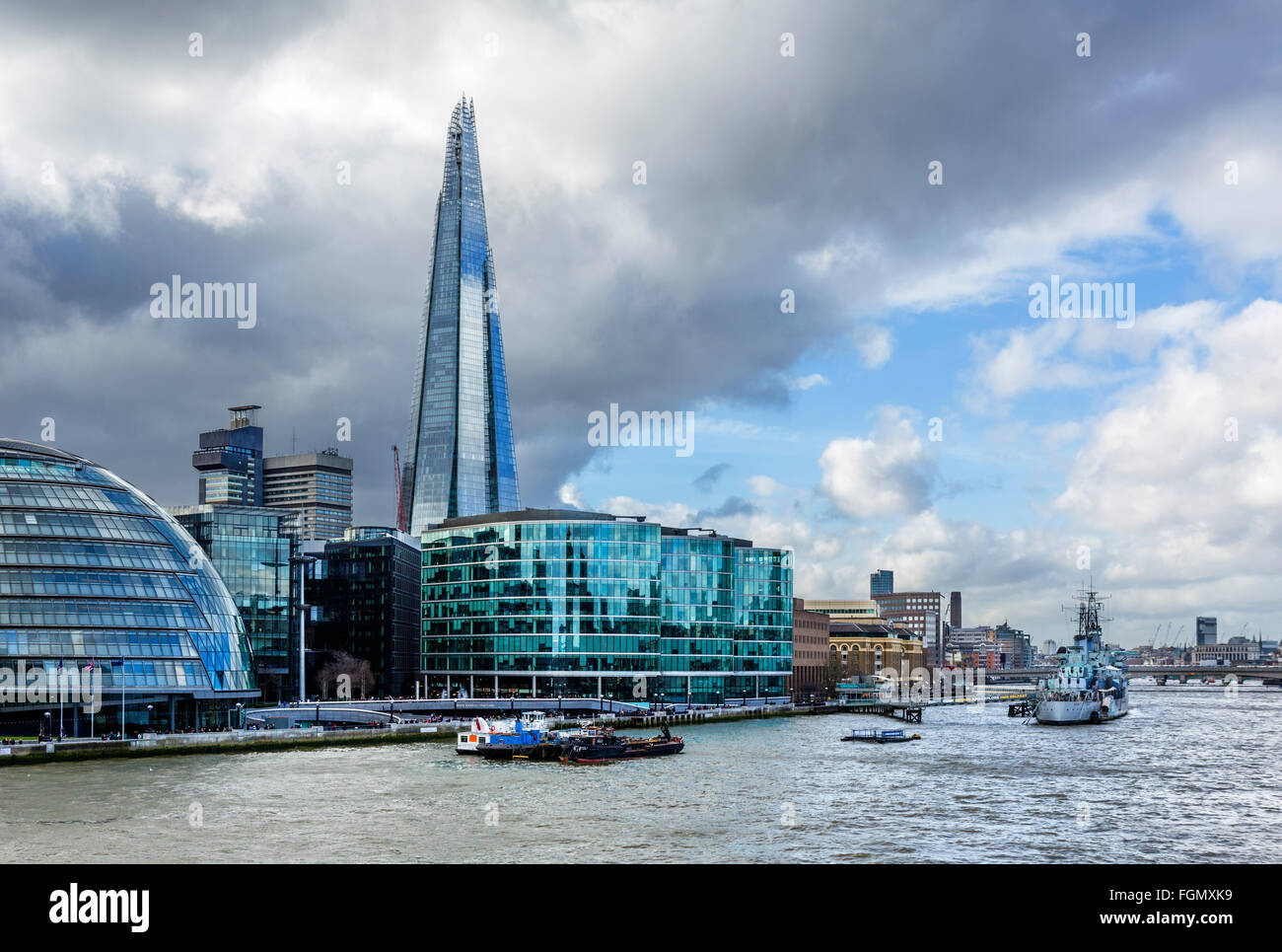 View from Tower Bridge towards The Shard and HMS Belfast, Southwark, London, England, UK - Stock Image