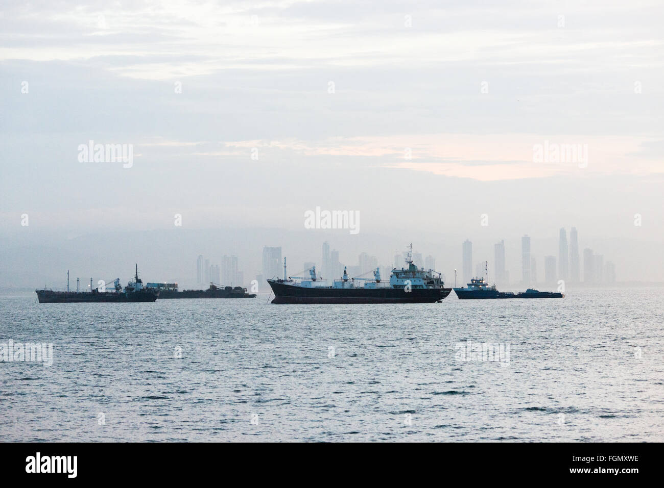 PANAMA CANAL, Panama--Ships at anchor in Panama Bay waiting their scheduled turn to transit the Panama Canal. The - Stock Image