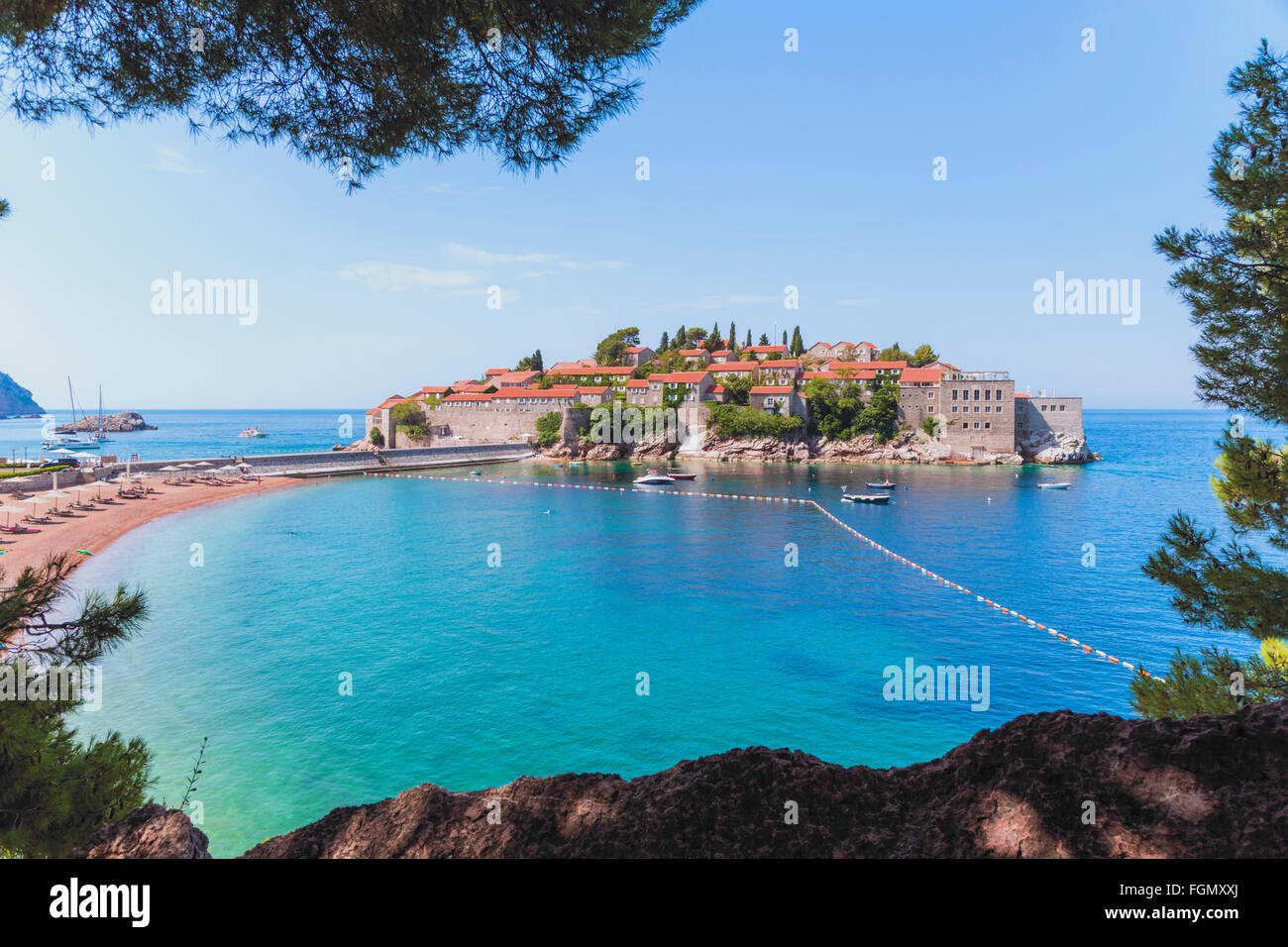 Sveti Stefan, near Budva, Montenegro. Stock Photo