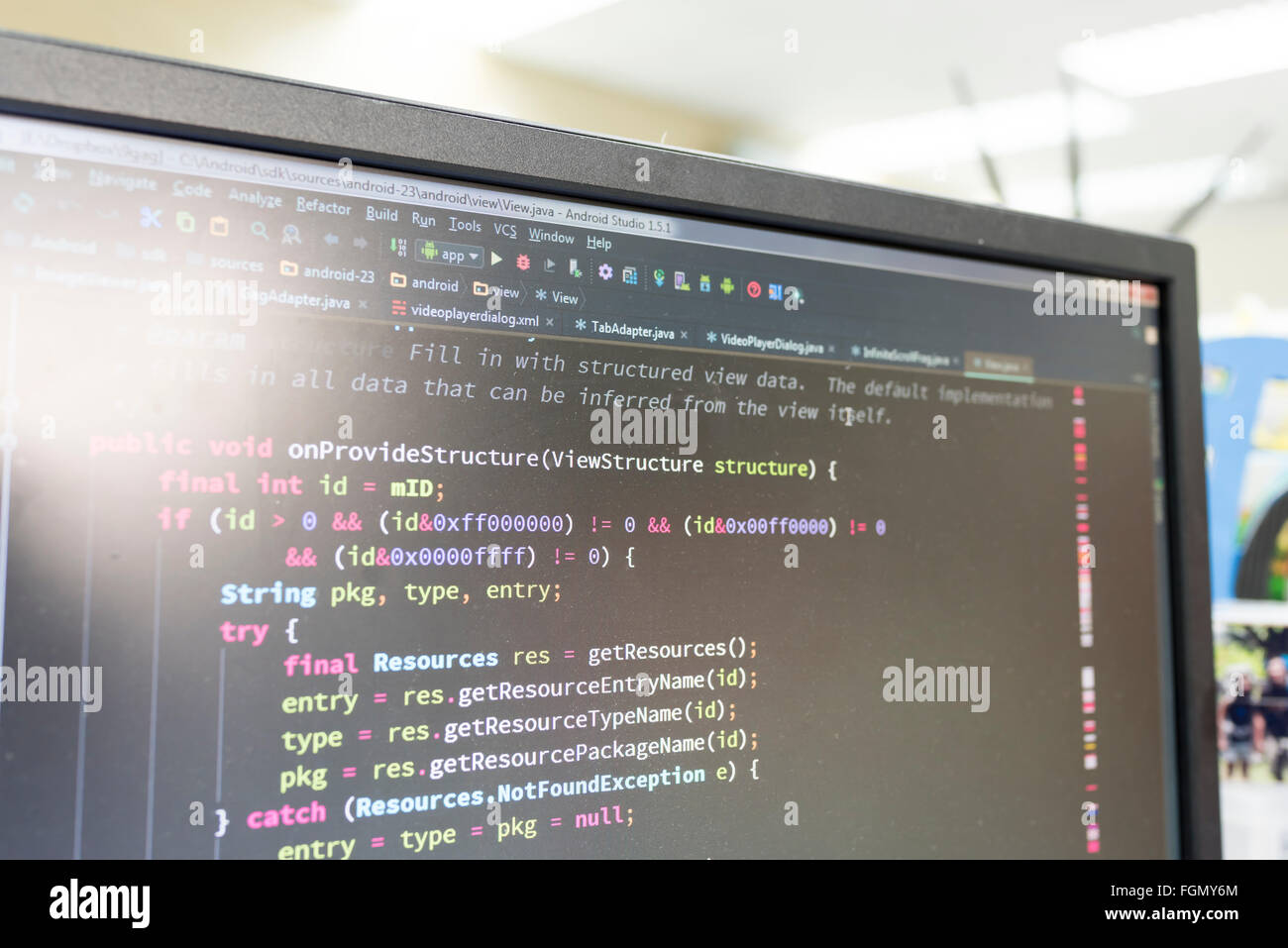 Coding on screen with colorful code Stock Photo: 96346732 - Alamy