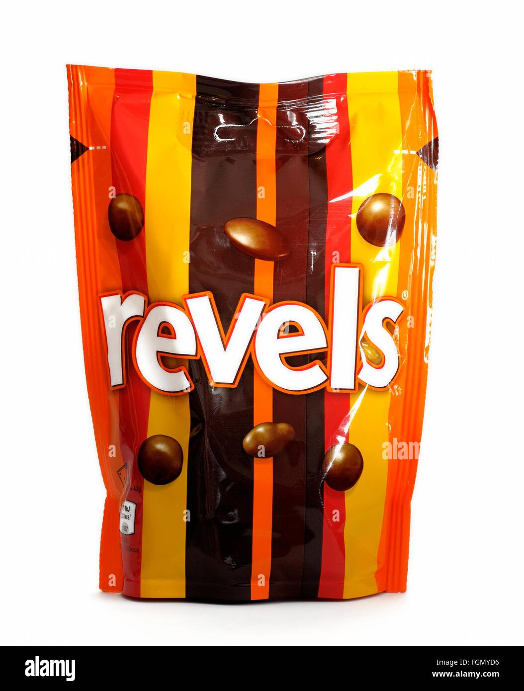 A bag of Revels on a white studio background - Stock Image