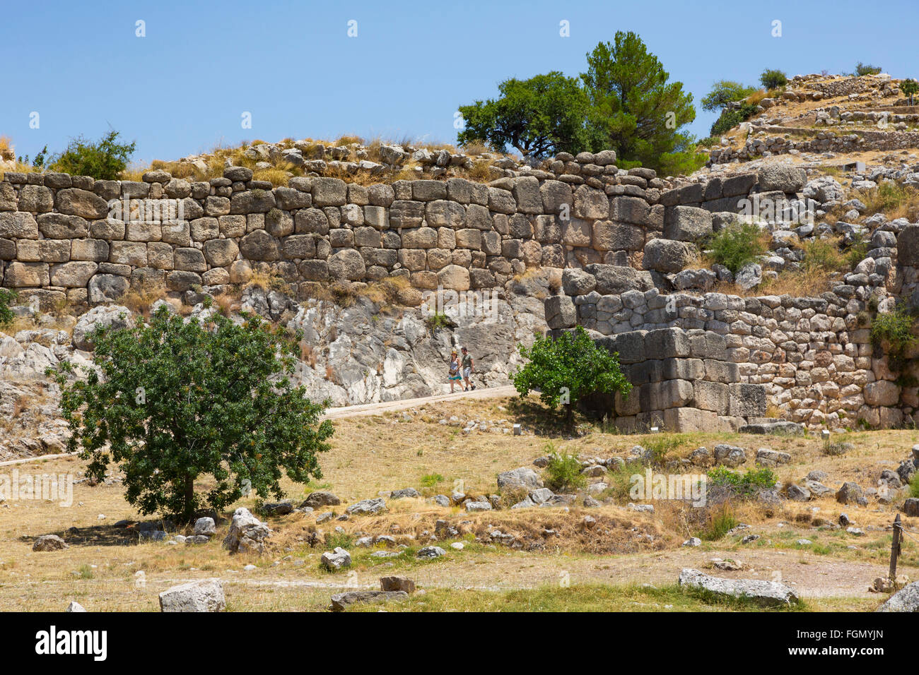 Mycenae, Argolis, Peloponnese, Greece.   The Cyclopean walls of the city's citadel. - Stock Image