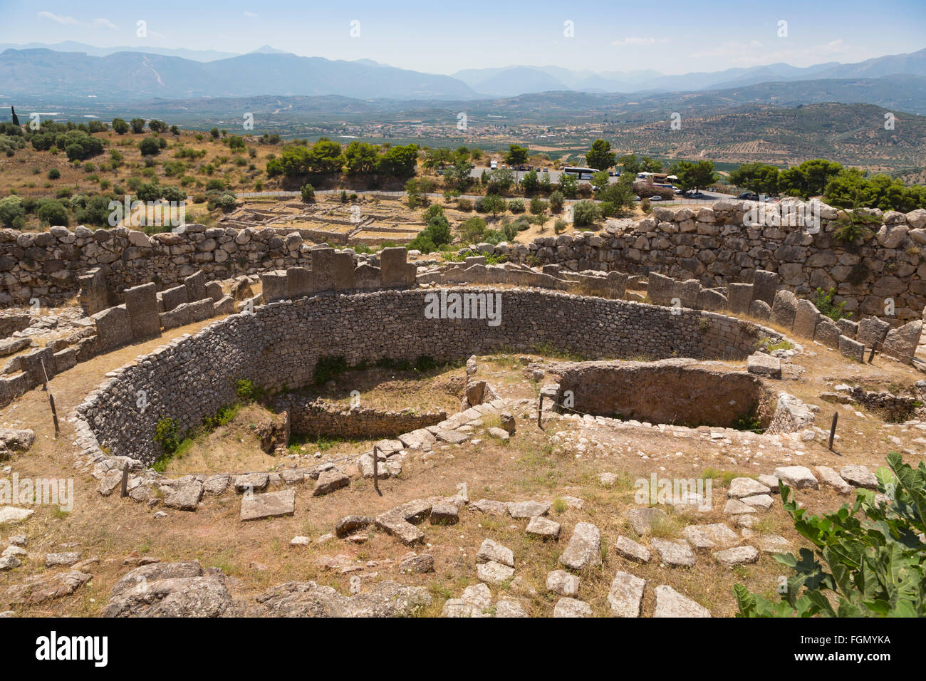 Mycenae, Argolis, Peloponnese, Greece.  Grave Circle A, dating from the 16th century BC, within the walls of the - Stock Image